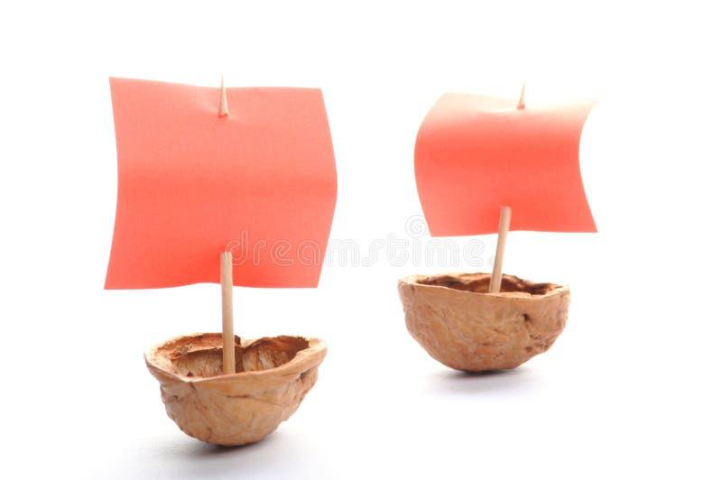 Sailboat made of walnut stock photography