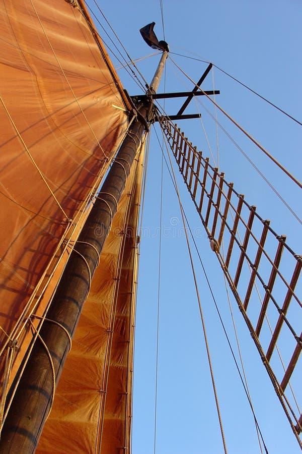 Sailboat mast with sail stock photography