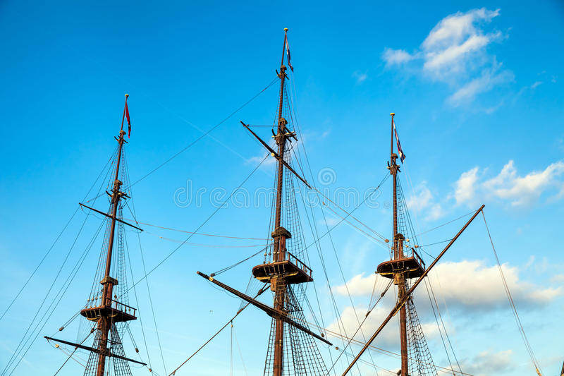 Sailboat masts stock photography