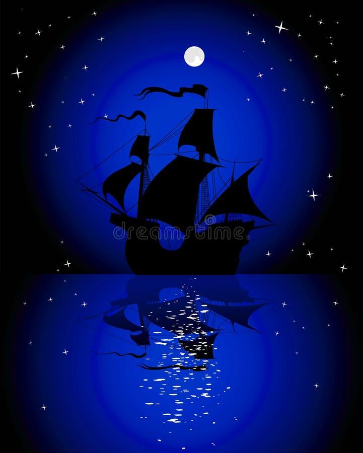 Download Sailboat in the moonlight stock vector. Illustration of transportation - 26845398