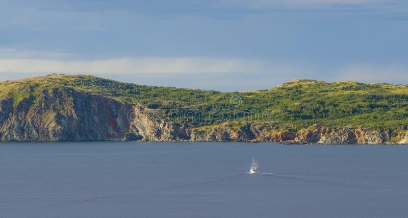 Sailboat navigates near Twillingate cliffs, seascape, landscape, Newfoundland, Atlantic Canada. stock photography