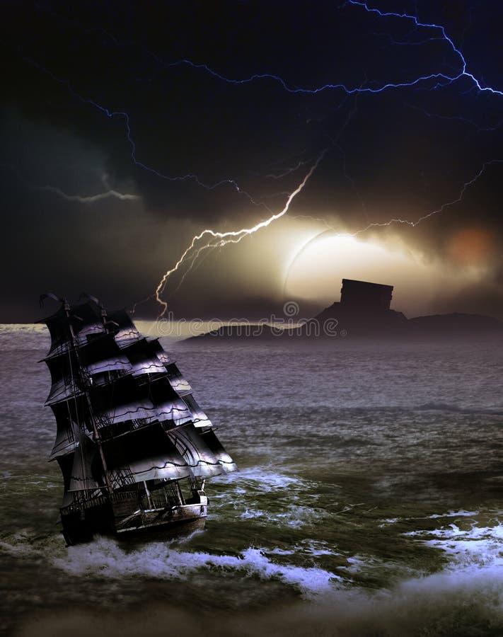 Mysterious Island under lightnings stock illustration