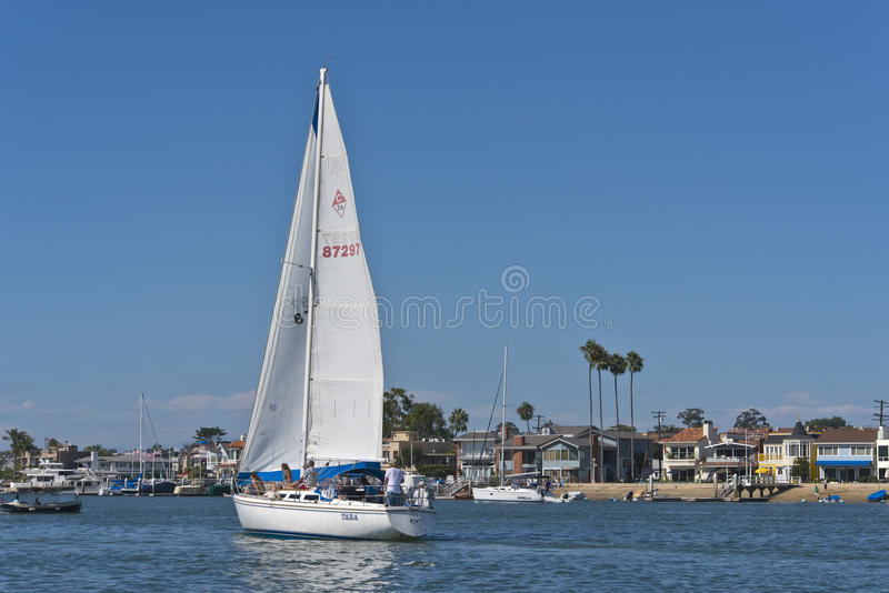 Sailboat, Newport Bay, Newport Beach California. A sailboat glides across Newport Bay, off of the Pacific Ocean in Newport Beach, southern California, known for stock images