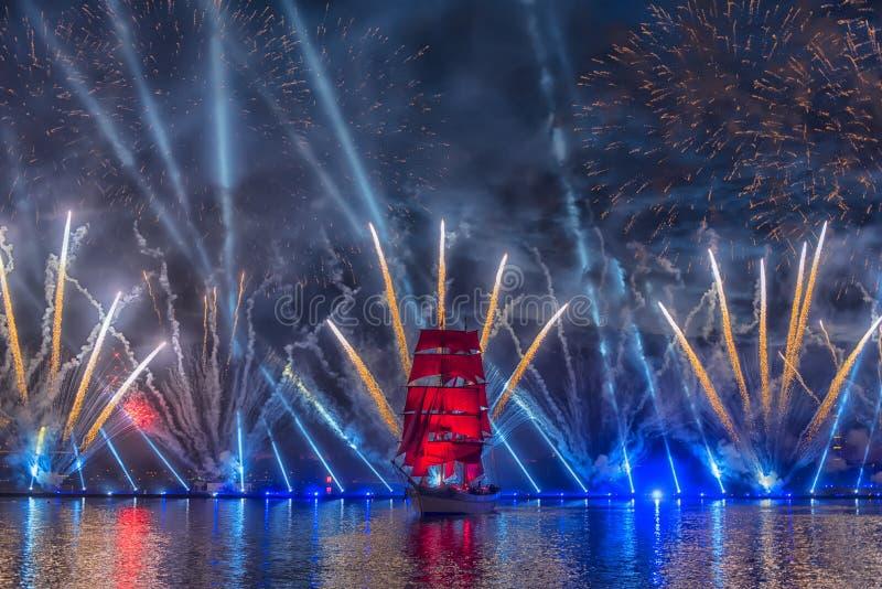 Sailboat at night at the Scarlet Sails festival royalty free stock images
