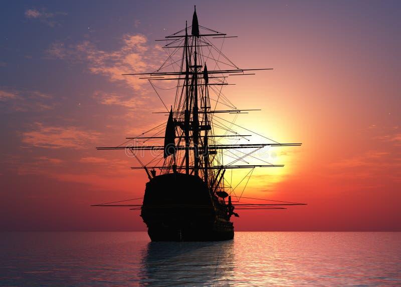 Sailboat no mar ilustração do vetor