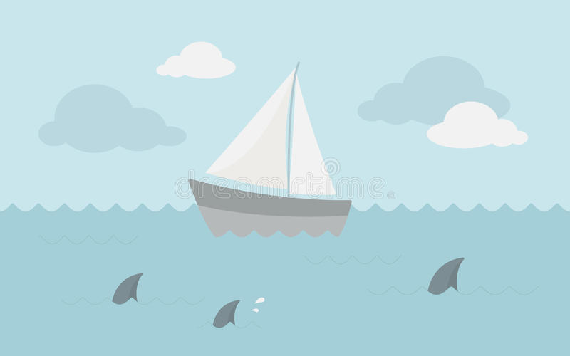 Sailboat in the ocean royalty free stock photography
