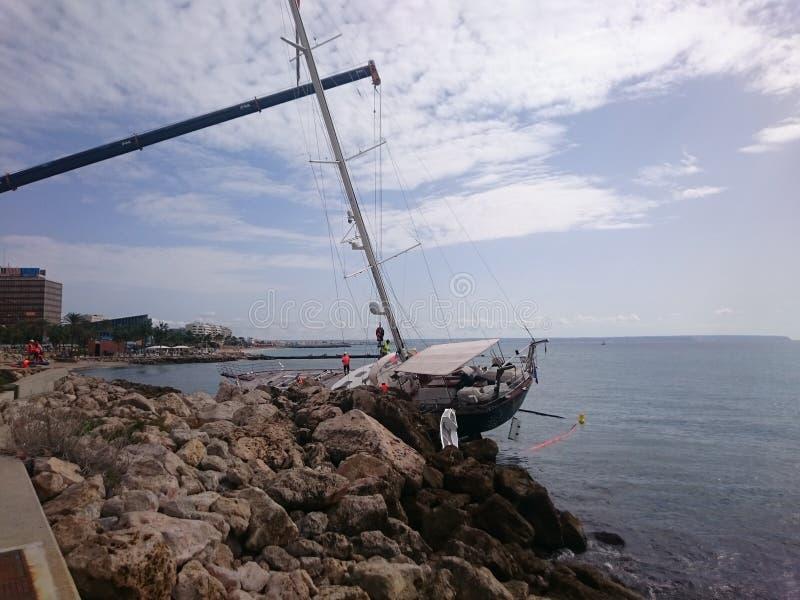 sailboat in Palma de Mallorca royalty free stock photos