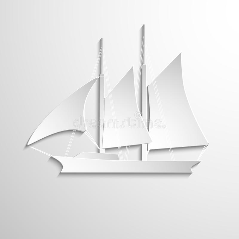 Sailboat paper white on jigh background royalty free stock image