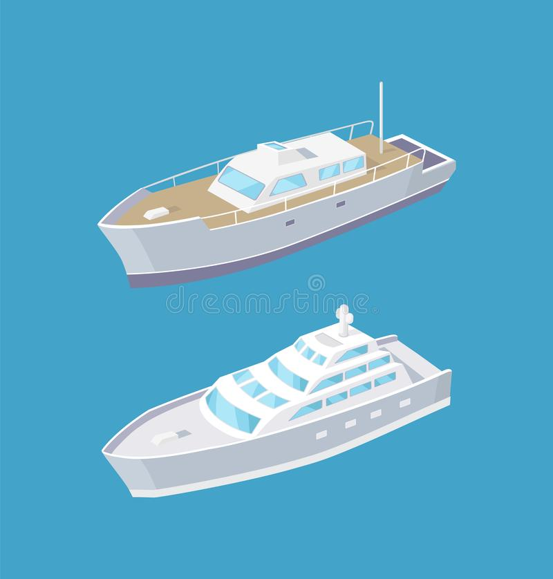 Sailboat and Passenger Liner Marine Travel Vessels royalty free illustration