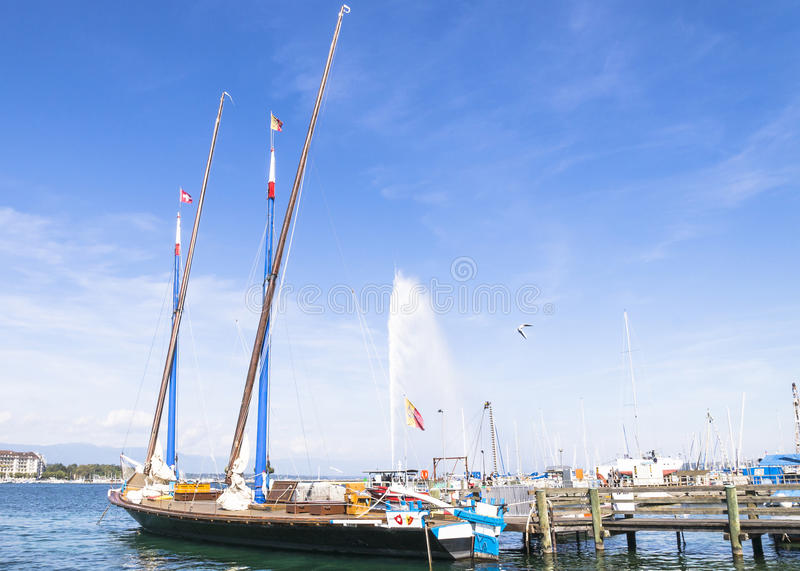 Sailboat in the port royalty free stock images
