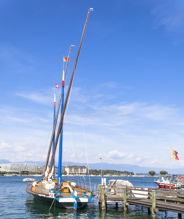 Sailboat in the port royalty free stock image