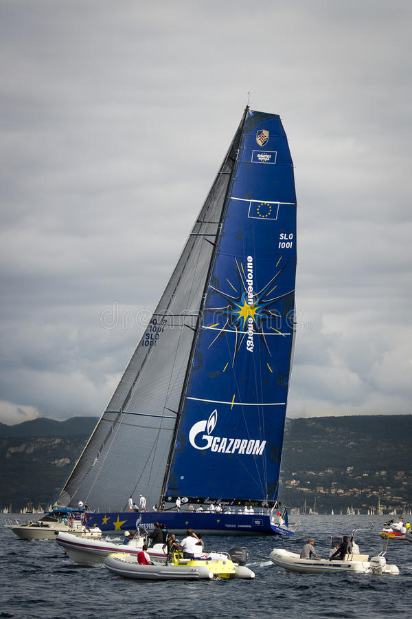 Sailboat during a race royalty free stock photo