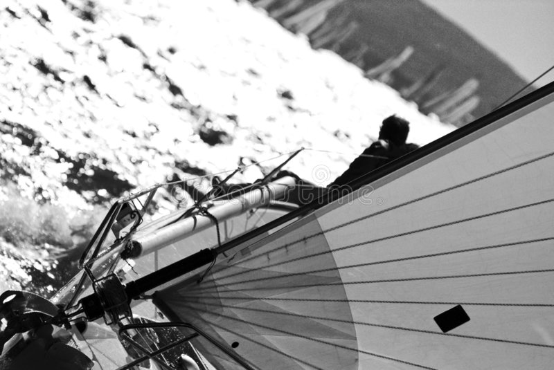 Sailboat Racing. Sailboat race with a boat in backlight in a sunny day - strong wind during Barcolana regatta - converted in black and white for more drama - ( royalty free stock photography