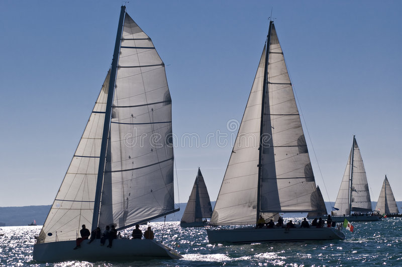 Sailboat Racing. Sailboat race with multiple boats in backlight in a sunny day - strong wind during Barcolana regatta - (Trieste, Italy 2007 royalty free stock images
