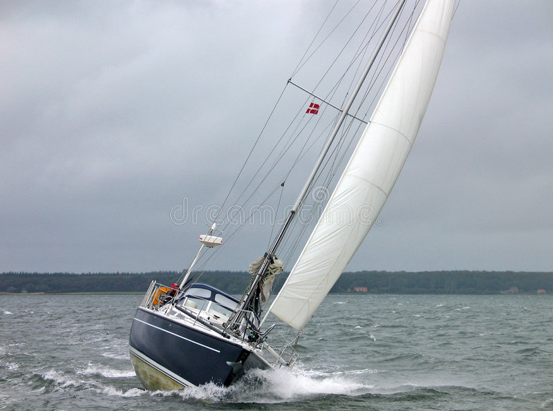 Sailboat racing in the winter stock photos
