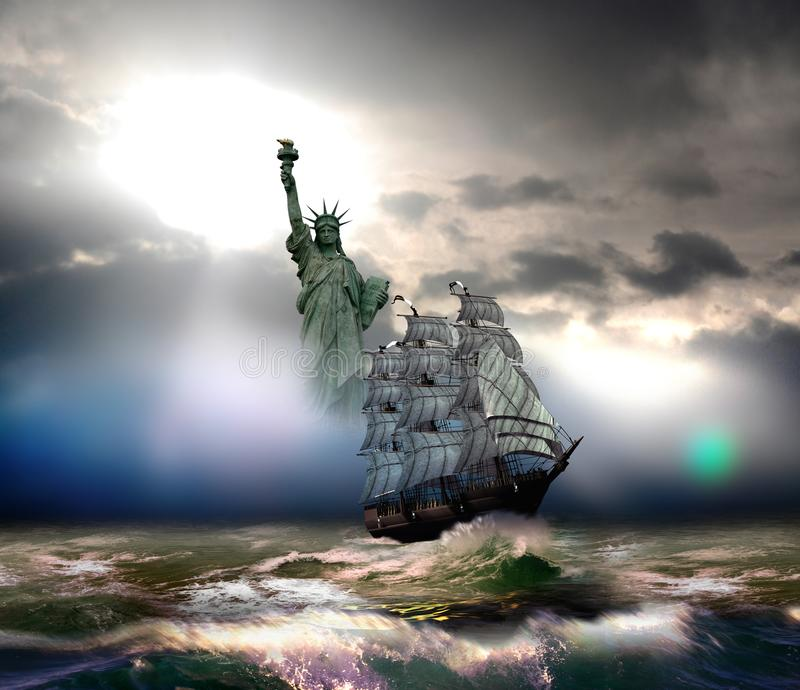 Sailboat reaching Liberty. Sailboat with immigrants on board, arriving to the US coast, close to liberty island vector illustration