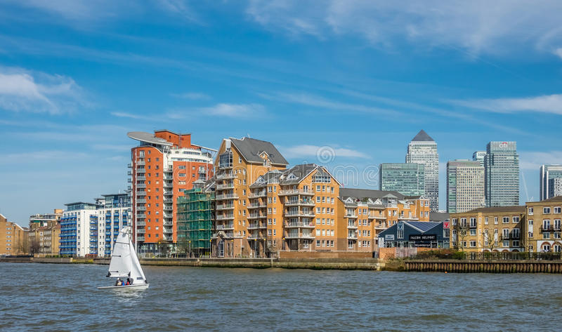 Sailboat on the river Thames stock photography