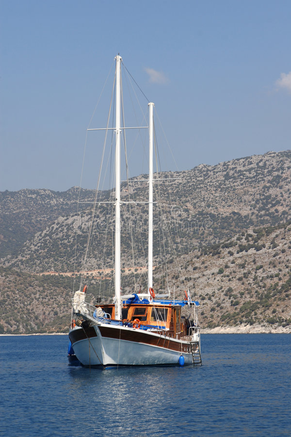 Sailboat without sail stock image