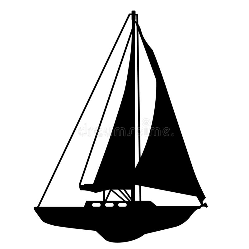 Sailboat Hand drawn, Vector, Eps, Logo, Icon, silhouette Illustration by crafteroks for different uses. royalty free illustration