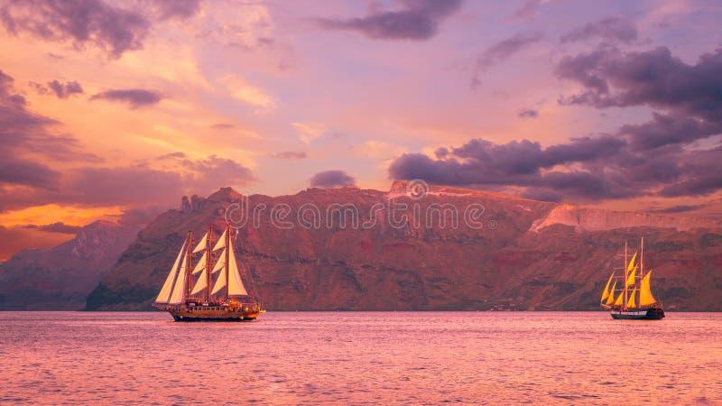 Sailboat in Santorini, Greece royalty free stock photos