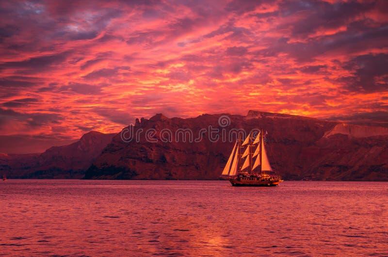 Sailboat in Santorini, Greece royalty free stock photography