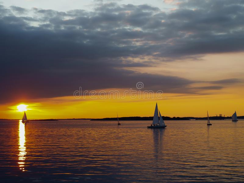 The sailboat in the sea stock photography