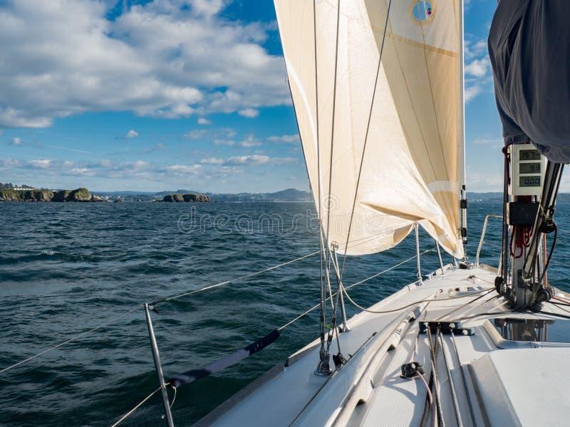 Sailboat in the sea near the coastline stock photo
