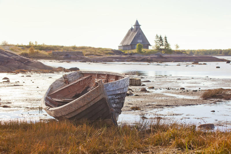 Sailboat on the shore in Rabocheostrovsk stock photo