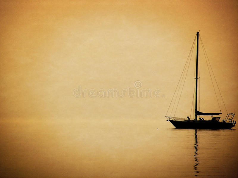 sailboat silhouette in haze stock image - image of reflect, still
