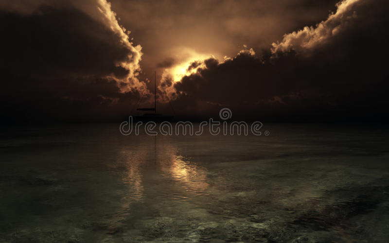 Sailboat Silhouette On Stormy Sunset stock photos
