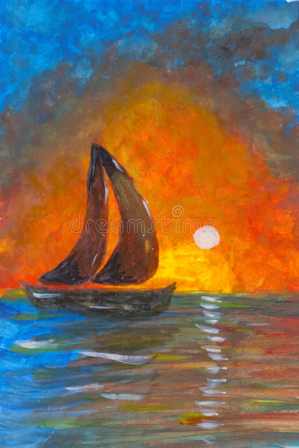 Sailboat sunset fantasy with a boat sailing along its journey against a vivid colorful sunset against an orange and yellow color. Filled sky, birds, outdoor royalty free illustration