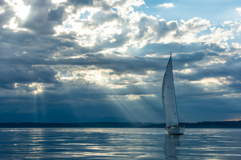 Sailboat a Sunset royalty free stock photo