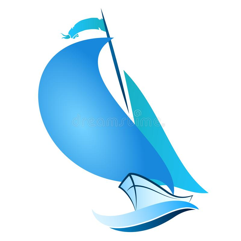 Sailboat floats on the wave. Sailboat swims on blue wave vector stock illustration