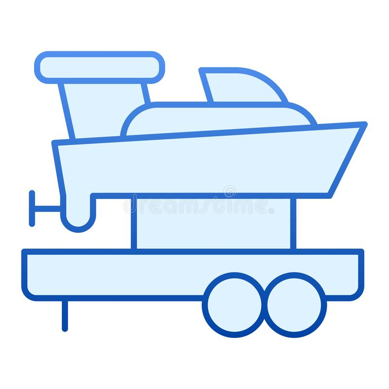 Sailboat on truck flat icon. Boat with trailer blue icons in trendy flat style. Ship transportation gradient style vector illustration