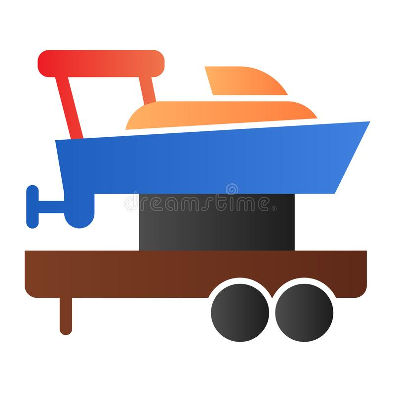Sailboat on truck flat icon. Boat with trailer color icons in trendy flat style. Ship transportation gradient style vector illustration