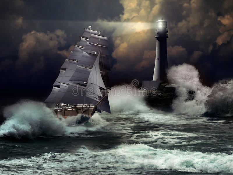 Sailboat under storm. Sailboat arriving to the coast under a storm, close to a lighthouse stock illustration