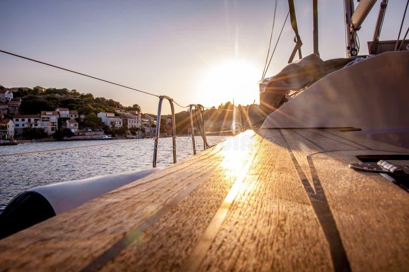 Sailboat in Vela Luka, Korčula during sunset. royalty free stock photo