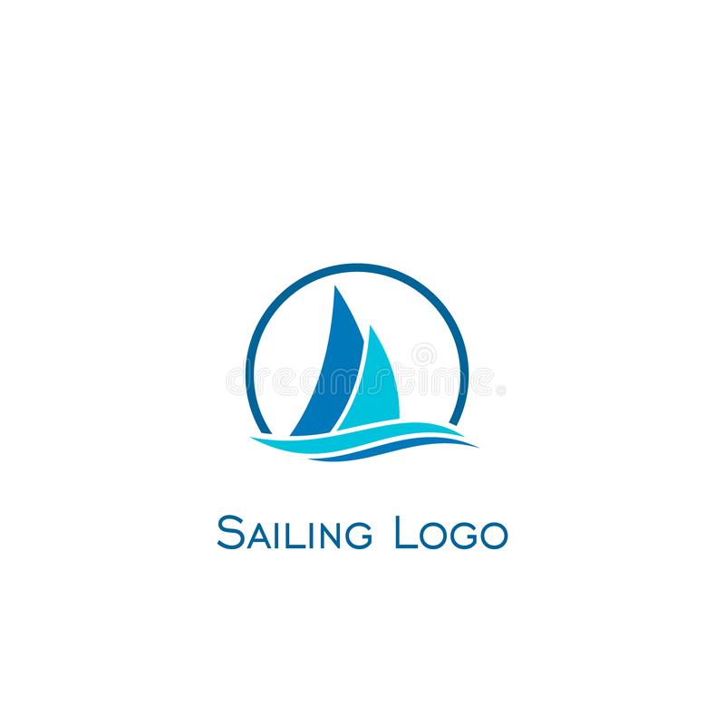 Sailing logo design, vector icons. Sailboat and wave illustrated design logo isolated on a white background stock illustration