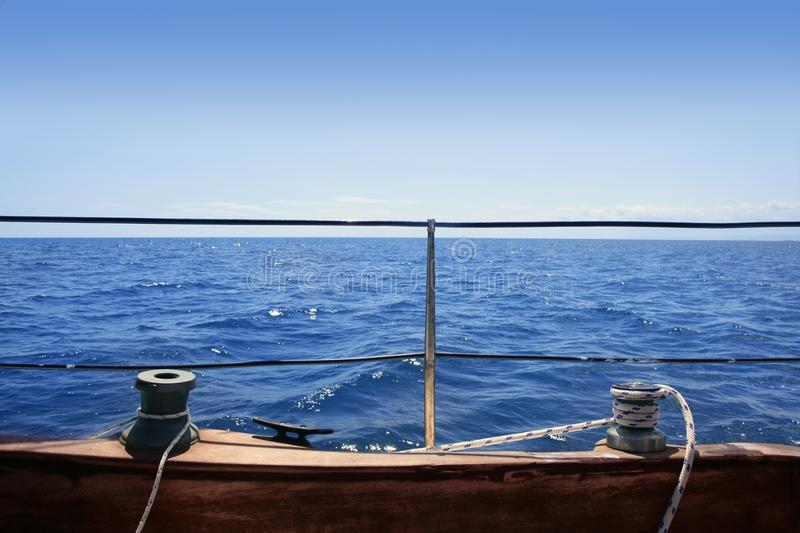 Sailboat Winches Wooden Board Blue Sea Horizon Royalty Free Stock Images