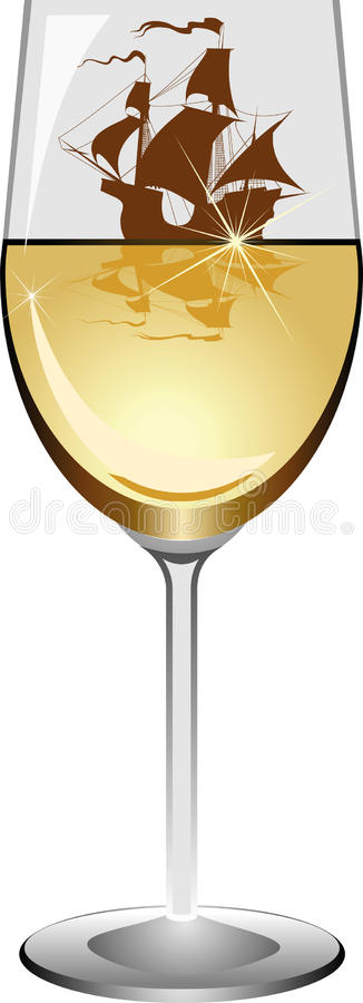 Sailboat In A Wineglass Royalty Free Stock Photo