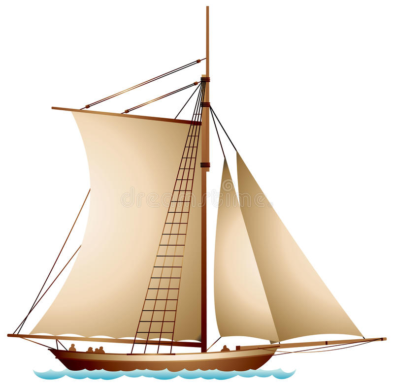 Sailboat, XIX century sailing vessel royalty free illustration
