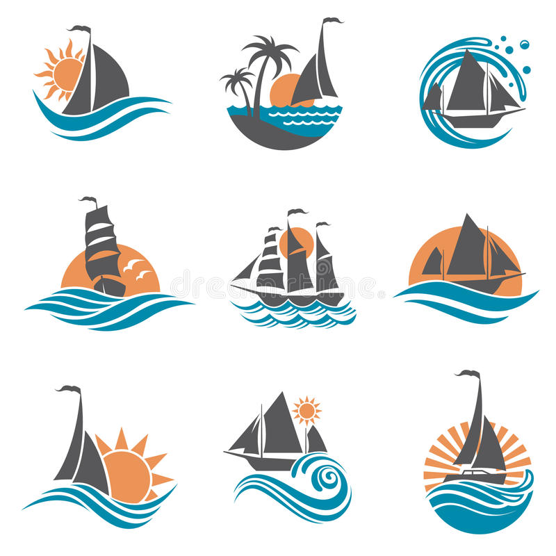 Sailboat and yacht icons. Collection of sailboat and yacht icons on waves royalty free illustration
