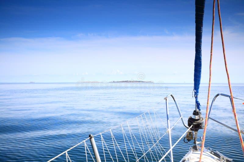 Sailboat Yacht Sailing In Blue Sea. Tourism Stock Photos