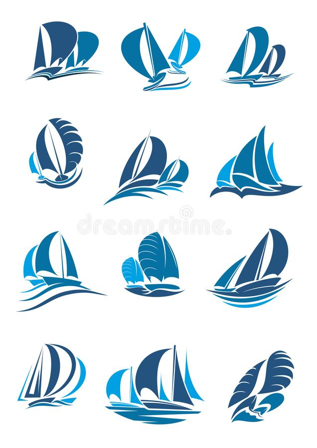 Sailboat, yacht and sailing ship with wave icon royalty free illustration