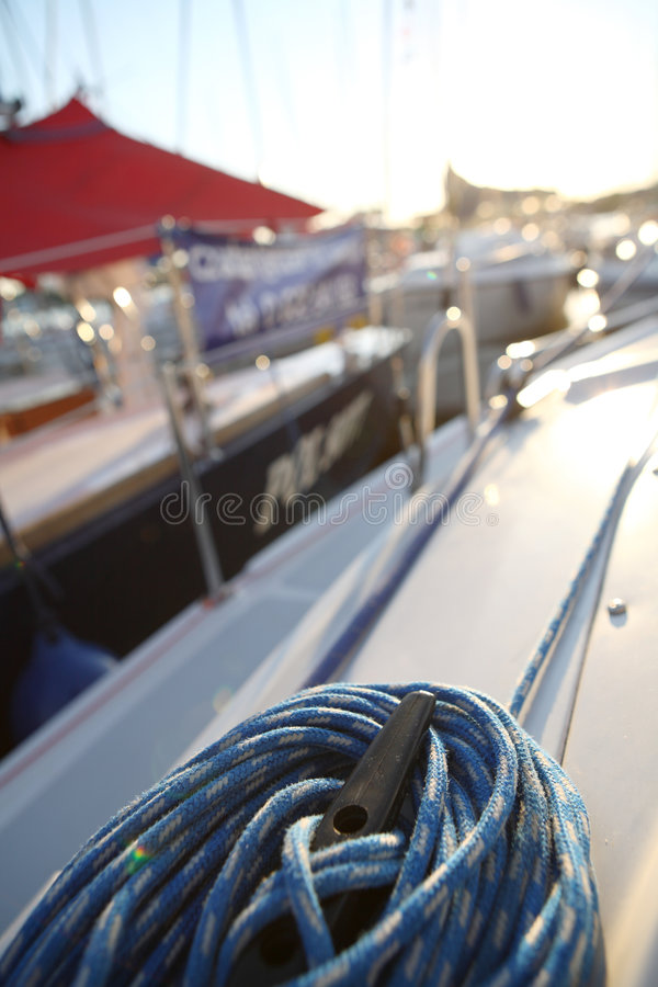 Sailboater S Equipment On Yacht Stock Image