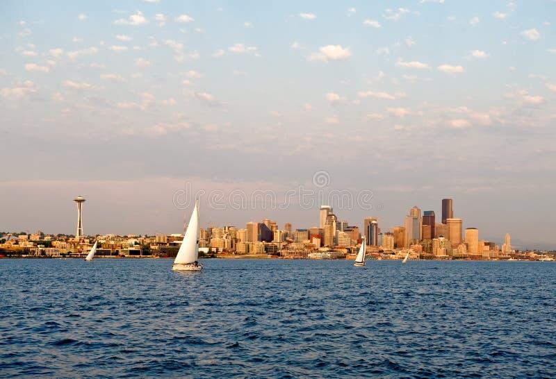 sailboating Seattle fotografia stock