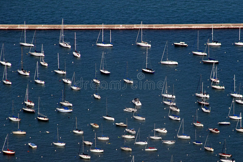 Sailboats – aerial view royalty free stock photography