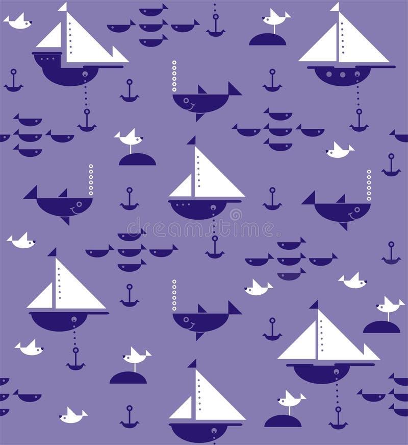 Sailboats με τις άγκυρες, τους καρχαρίες, τα ψάρια και τους γλάρους ελεύθερη απεικόνιση δικαιώματος