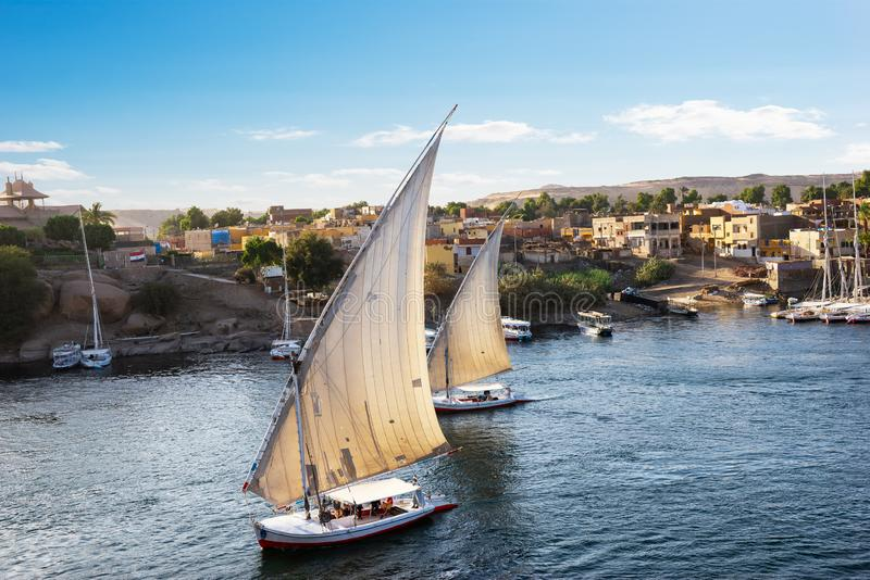 Sailboats στο Νείλο σε Aswan στοκ φωτογραφίες με δικαίωμα ελεύθερης χρήσης