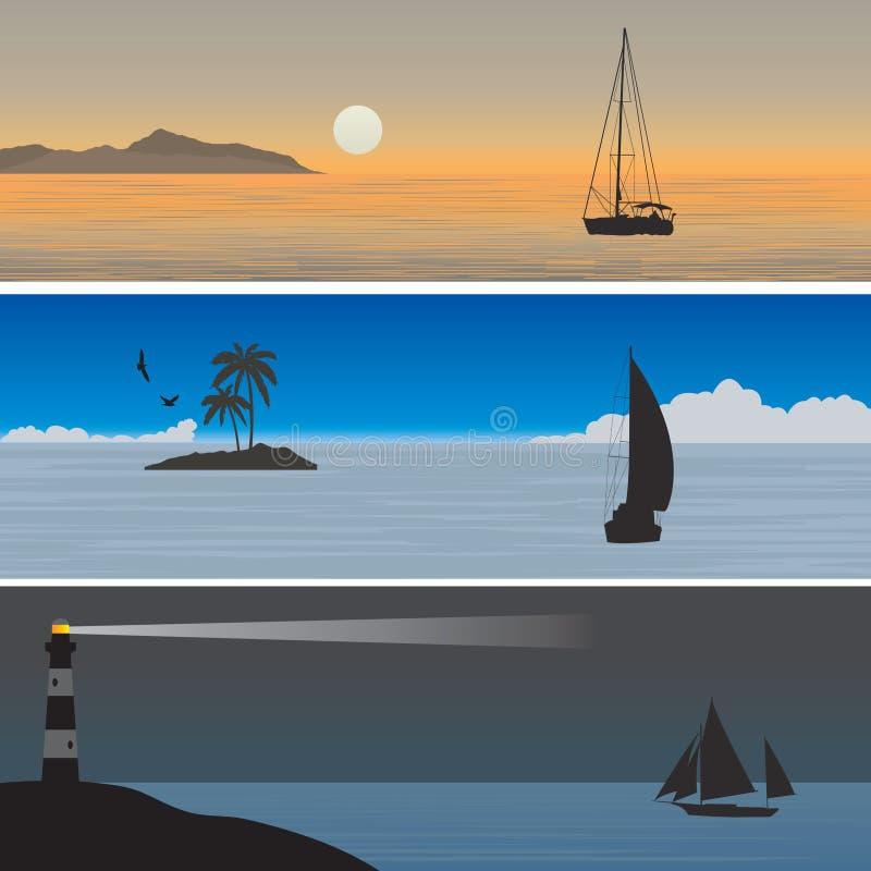 sailboats διανυσματική απεικόνιση